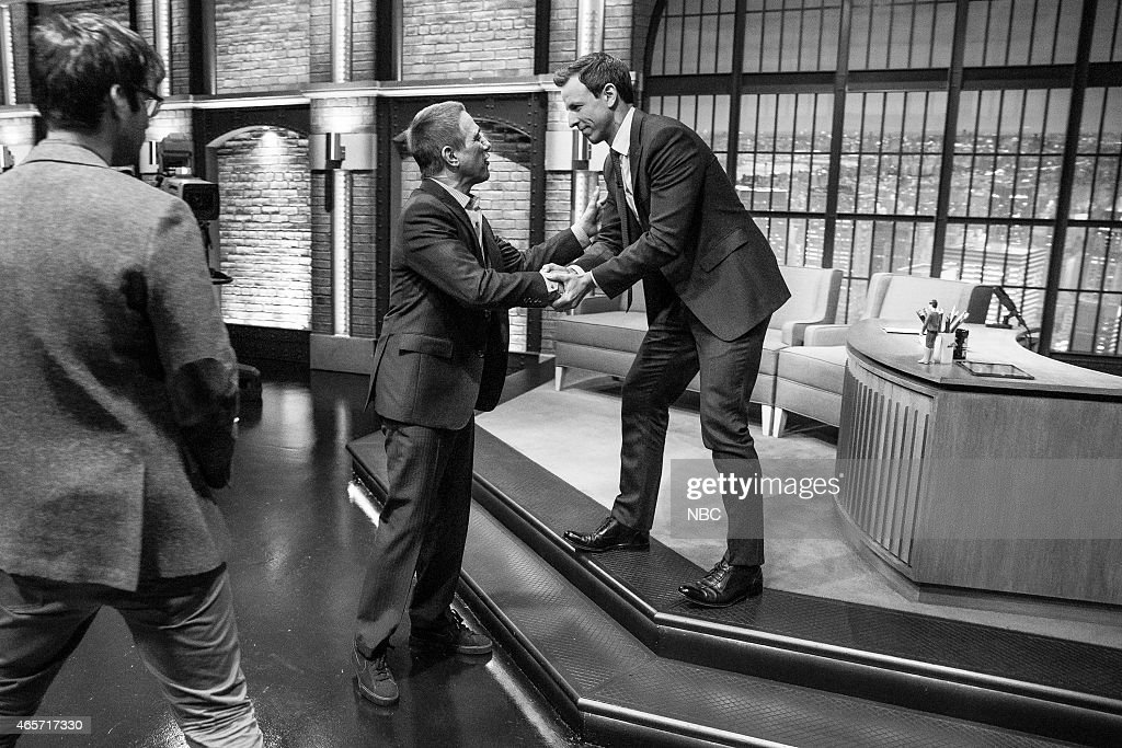 MEYERS -- (EXCLUSIVE COVERAGE) -- Episode 0148 -- Pictured: (l-r) Actor Tony Danza and host Seth Meyers after an interview on January 12, 2015 --