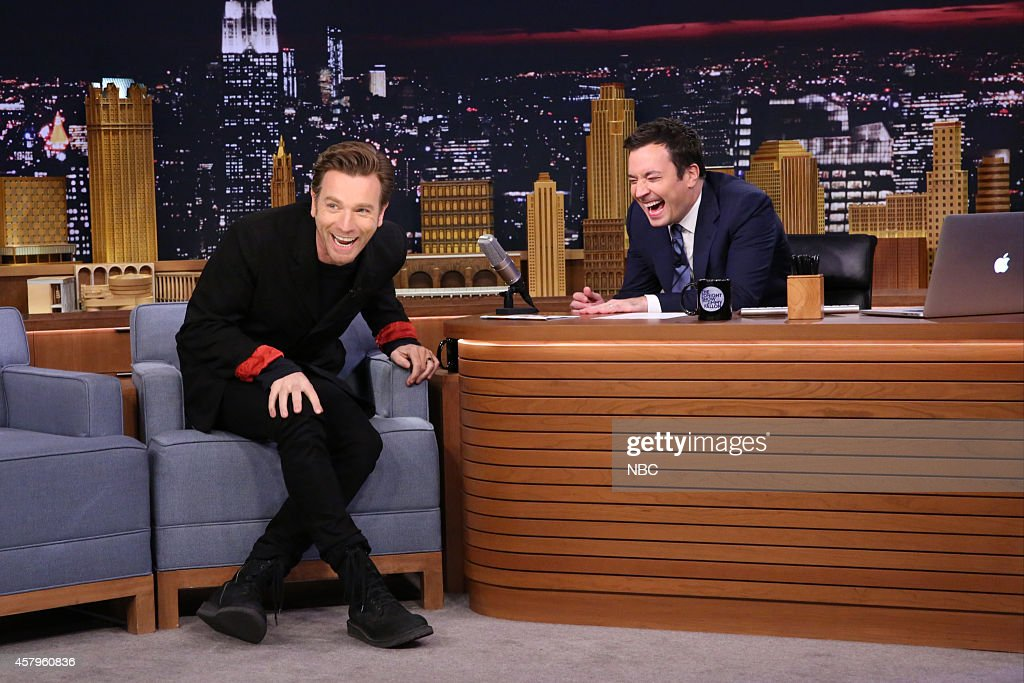 Actor <a gi-track='captionPersonalityLinkClicked' href=/galleries/search?phrase=Ewan+McGregor&family=editorial&specificpeople=202863 ng-click='$event.stopPropagation()'>Ewan McGregor</a> during an interview with host <a gi-track='captionPersonalityLinkClicked' href=/galleries/search?phrase=Jimmy+Fallon&family=editorial&specificpeople=171520 ng-click='$event.stopPropagation()'>Jimmy Fallon</a> on October 27, 2014 --