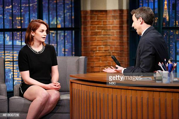 Actress Ruth Wilson during an interview with host Seth Meyers on January 19 2015