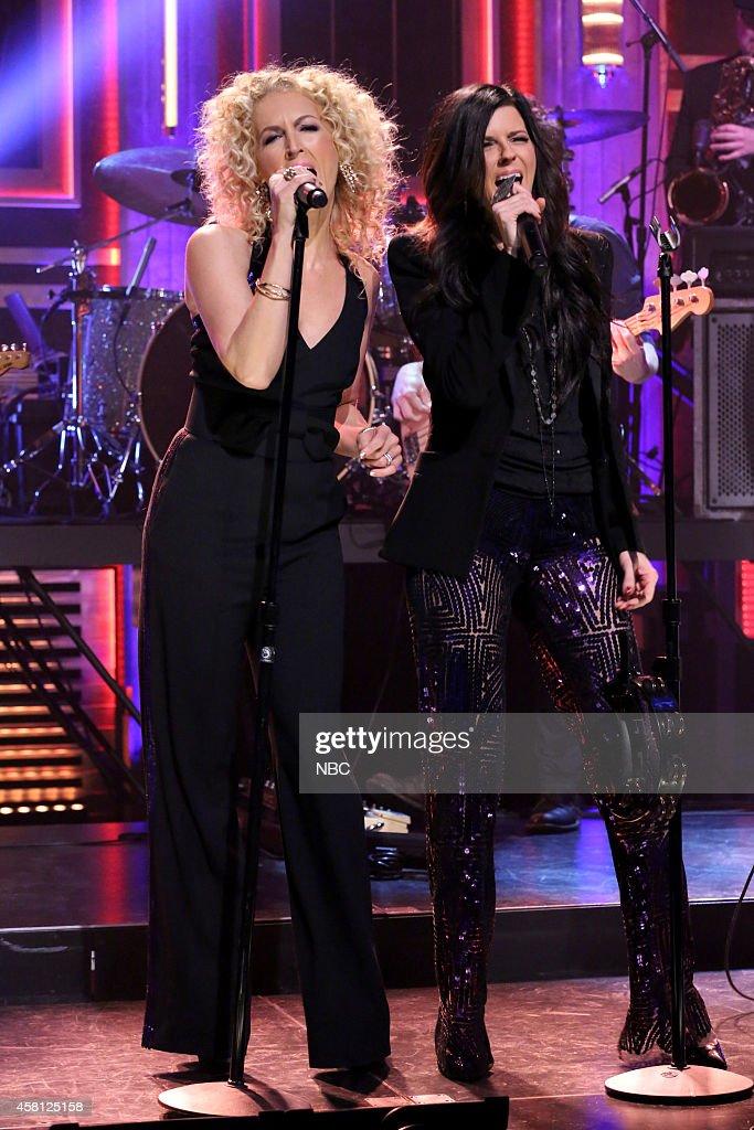 Kimberly Schlapman and Karen Fairchild of musical guest Little Big Town perform on October 30 2014