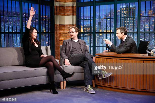 Actress Lauren Graham actor Rainn Wilson during an interview with host Seth Meyers on January 20 2015