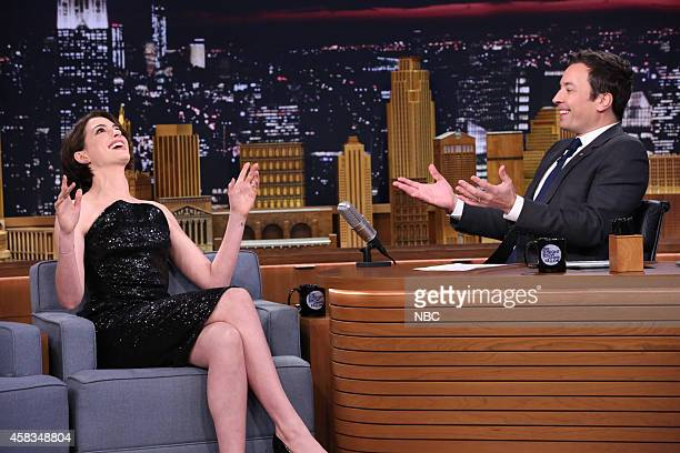 Actress Anne Hathaway during an interview with host Jimmy Fallon on November 3 2014
