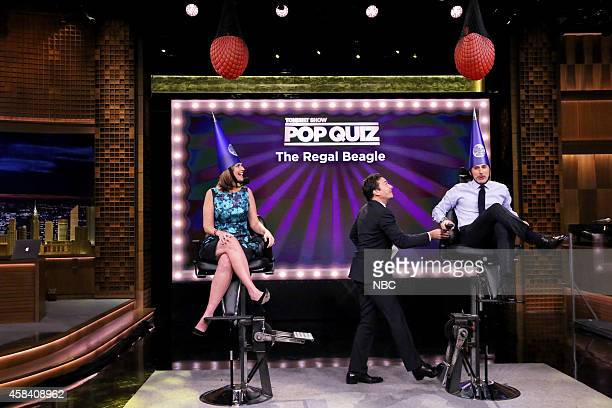 Today Show host Savannah Guthrie host Jimmy Fallon and Today Show host Matt Lauer play Pop Quiz on November 4 2014