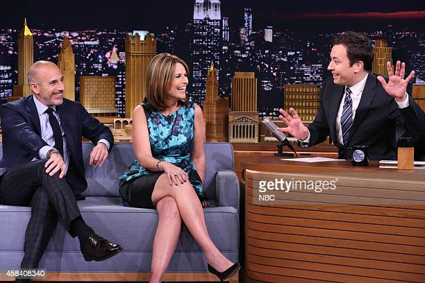 Today Show hosts Matt Lauer and Savannah Guthrie during an interview with host Jimmy Fallon on November 4 2014