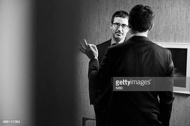 MEYERS Episode 0156 Pictured Comedian John Oliver talks with host Seth Meyers backstage on February 2 2015