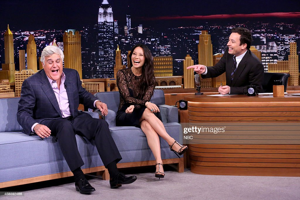 Former Tonight Show host Jay Leno and actress Lucy Liu during an interview with host Jimmy Fallon on November 7 2014