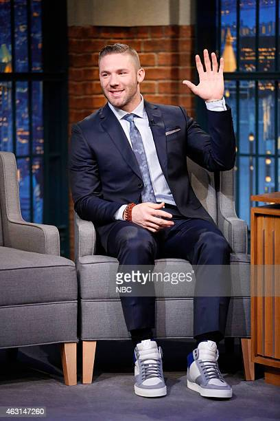 New England Patriots wide receiver Julian Edelman during an interview on February 10 2015