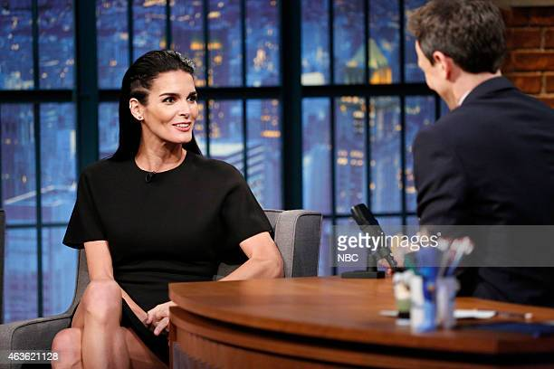 Actress Angie Harmon during an intervie with host Seth Meyers on February 16 2015