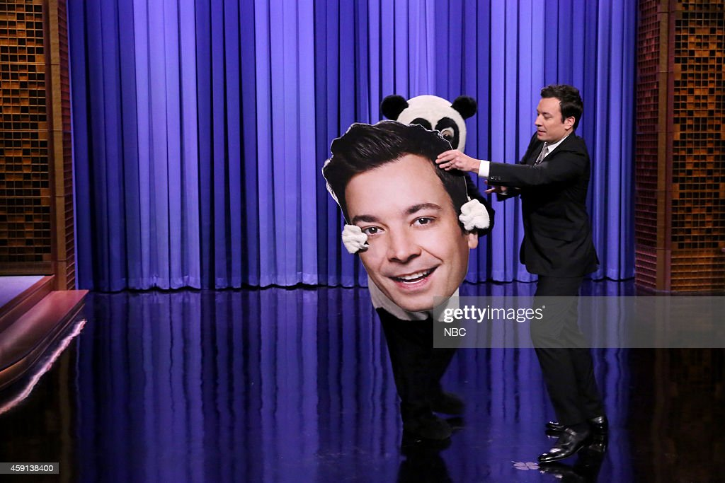 Hashtag the Panda and host Jimmy Fallon during the monologue on November 17, 2014 --
