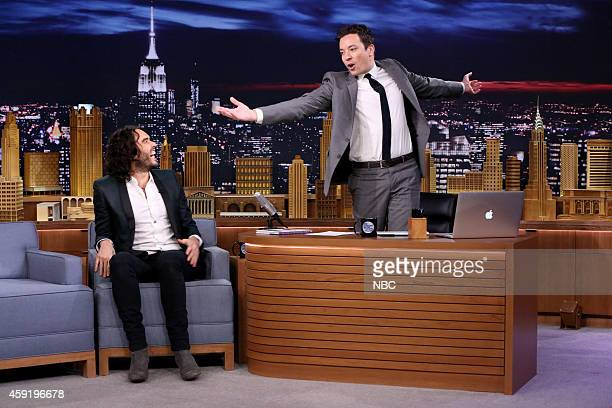 Comedian Russell Brand during an interview with host Jimmy Fallon on November 18 2014