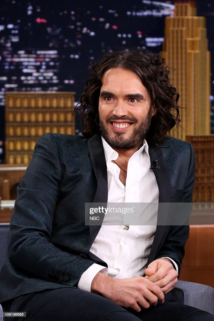 Comedian <a gi-track='captionPersonalityLinkClicked' href=/galleries/search?phrase=Russell+Brand&family=editorial&specificpeople=536593 ng-click='$event.stopPropagation()'>Russell Brand</a> on November 18, 2014 --