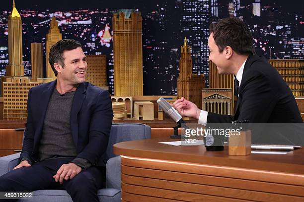 Actor Mark Ruffalo during an interview with the host Jimmy Fallon on November 20 2014
