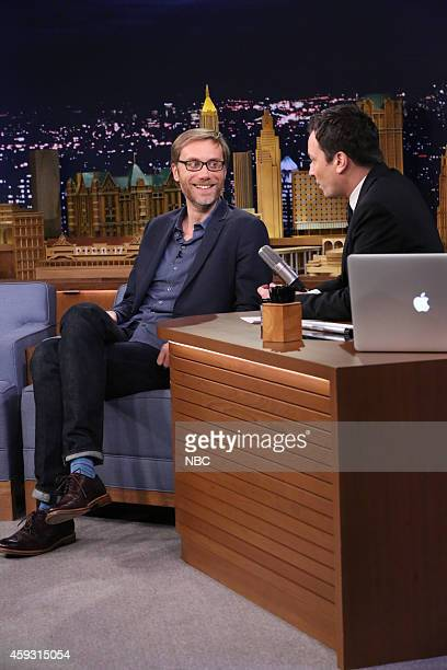 Actor Stephen Merchant during an interview with host Jimmy Fallon on November 20 2014