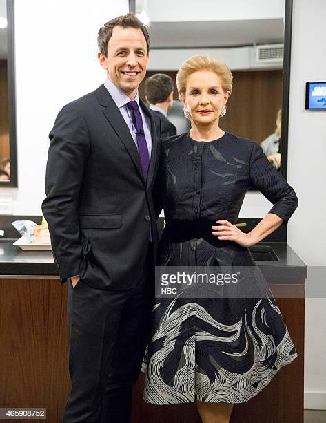 MEYERS Episode 0167 Pictured Host Seth Meyers and fashion designer Carolina Herrera backstage on February 19 2015