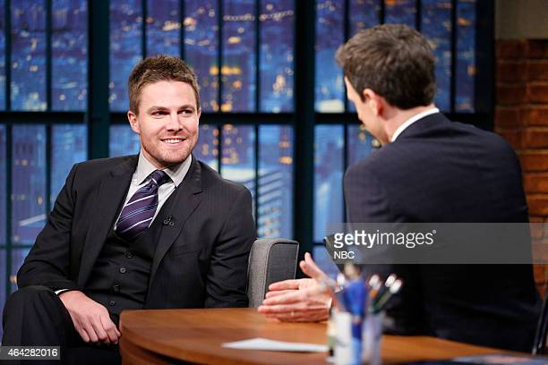 Actor Stephen Amell during an interview with host Seth Meyers on February 23 2015