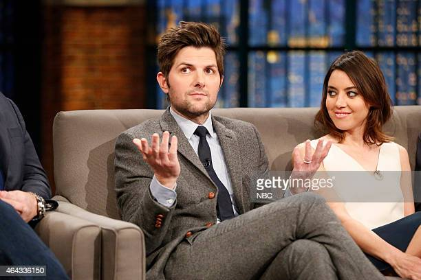 Adam Scott and Aubrey Plaza of 'Parks and Recreation' during an interview on February 24 2015