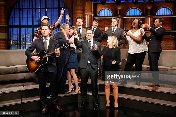 Host Seth Meyers with Chris Pratt Jim O'Heir Aubrey Plaza Adam Scott Michael Schur Jon Glaser Amy Poehler Nick Offerman Retta and Aziz Ansari of...