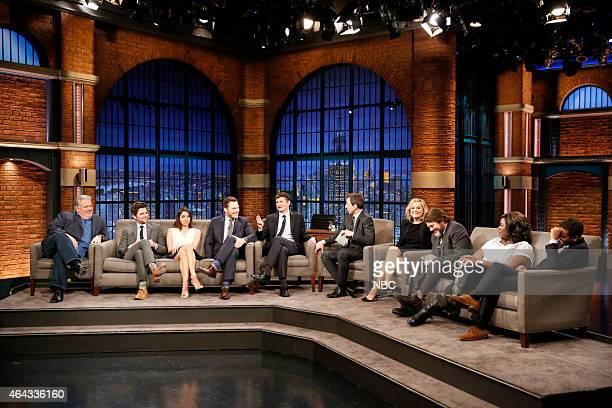 Host Seth Meyers with Jim O'Heir Adam Scott Aubrey Plaza Chris Pratt executive producer Michael Schur Amy Poehler Nick Offerman Retta Aziz Ansari of...