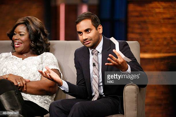 Retta and Aziz Ansari of 'Parks and Recreation' during an interview on February 24 2015