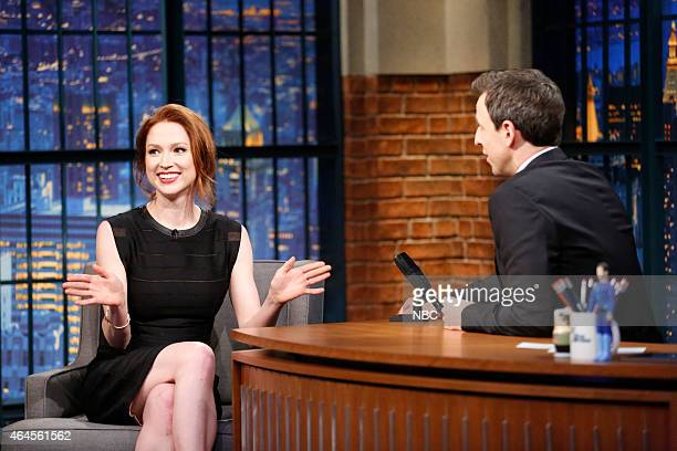 Actress Ellie Kemper during an interview with host Seth Meyers on February 26 2015