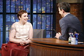 Actress Lena Dunham during an interview with host Seth Meyers on March 18 2015