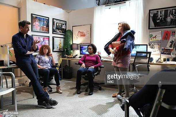 Host Seth Meyers Michelle Wolf Amber Ruffin and Lena Dunham during a skit on March 18 2015