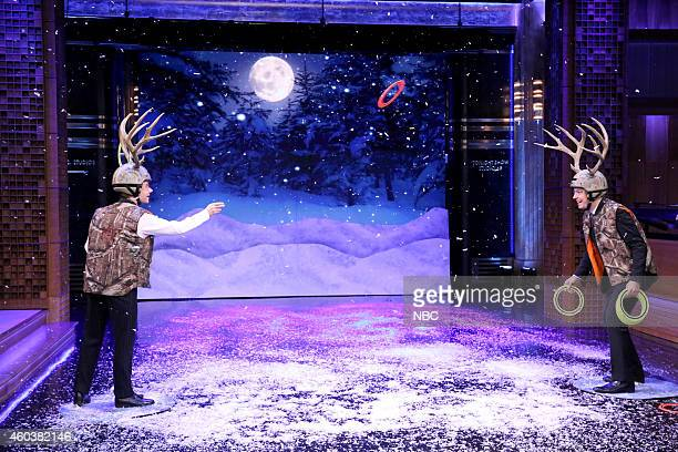 Actor Martin Freeman and host Jimmy Fallon play 'Antler Ring Toss' on December 12 2014