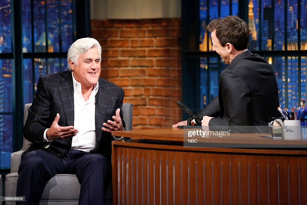 Comedian Jay Leno during an interview with host Seth Meyers on March 19 2015