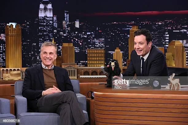 Actor Christoph Waltz during an interview with host Jimmy Fallon on December 16 2014
