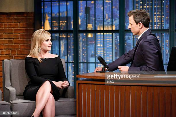 Actress Elisha Cuthbert during an interview with host Seth Meyers on March 24 2015