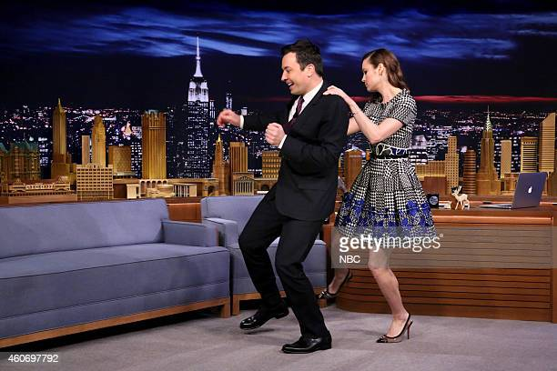 Host Jimmy Fallon dances with actress Brie Larson on December 19 2014