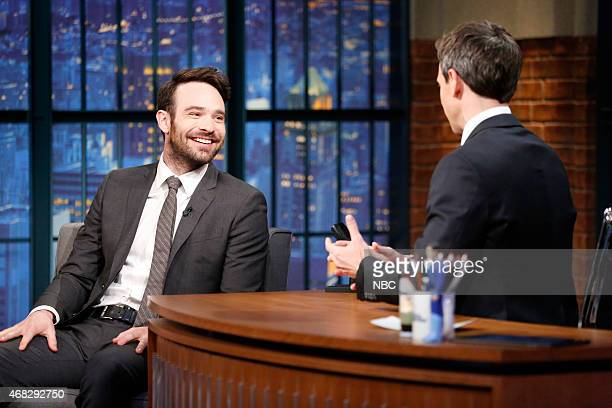 Actor Charlie Cox during an interview with host Seth Meyers on April 1 2015