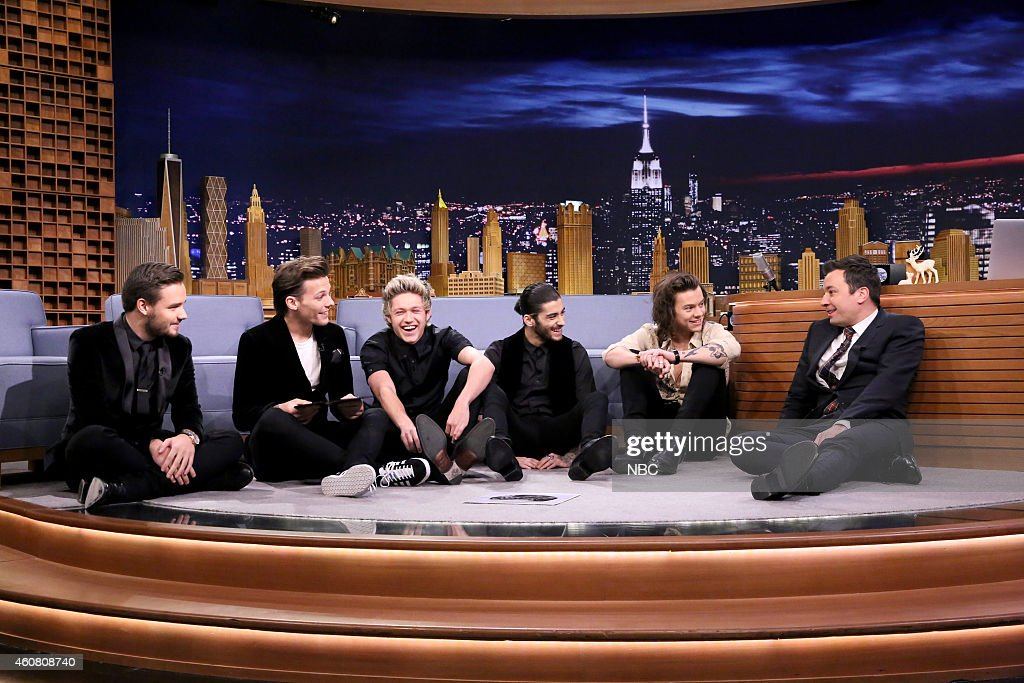 One Direction members Liam Payne, Louis Tomlinson, Niall Horan, Zayn Malik and Harry Styles during an interview with host Jimmy Fallon on December 23, 2014 --