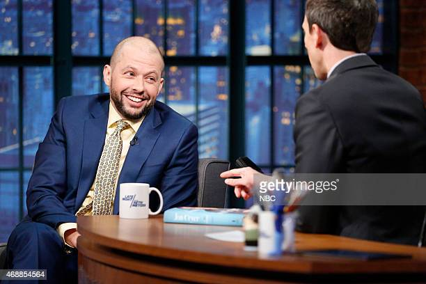Actor Jon Cryer during an interview with host Seth Meyers on April 7 2015