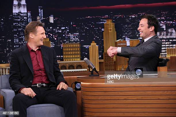 Actor Liam Neeson during an interview with host Jimmy Fallon on January 7 2015