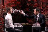 Actor Chris Hemsworth and host Jimmy Fallon during a Water War on January 13 2015