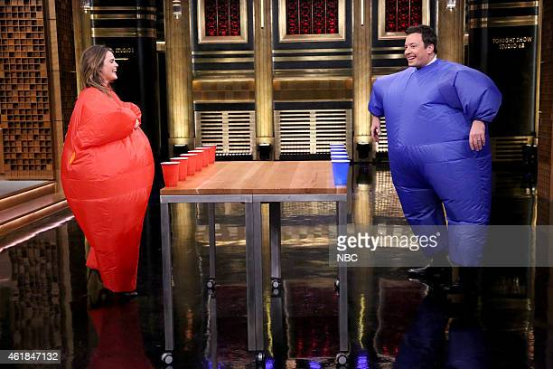 Actress Keri Russell and host Jimmy Fallon play 'Inflatable Flip Cup' on January 20 2015