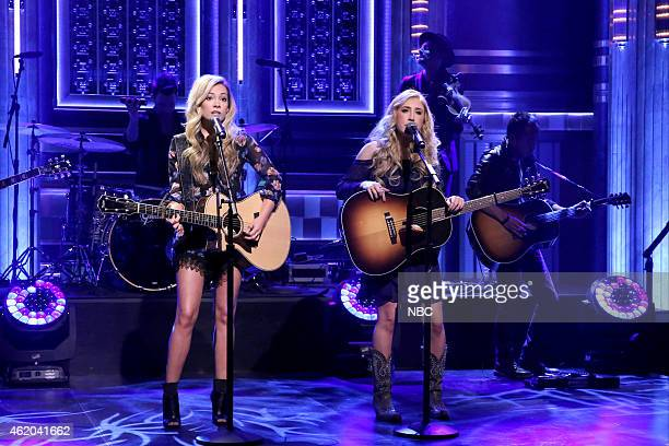 Tae Dye and Maddie Marlow of musical guest Maddie and Tae perform on January 23 2015