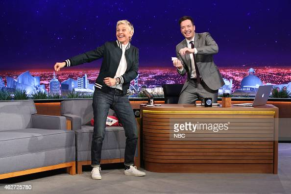 Television personality Ellen DeGeneres during an interview with host Jimmy Fallon on February 3 2015