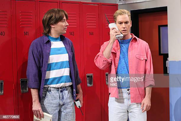 Jimmy Fallon and MarkPaul Gosselaar during the 'Saved by the Bell' skit on February 4 2015