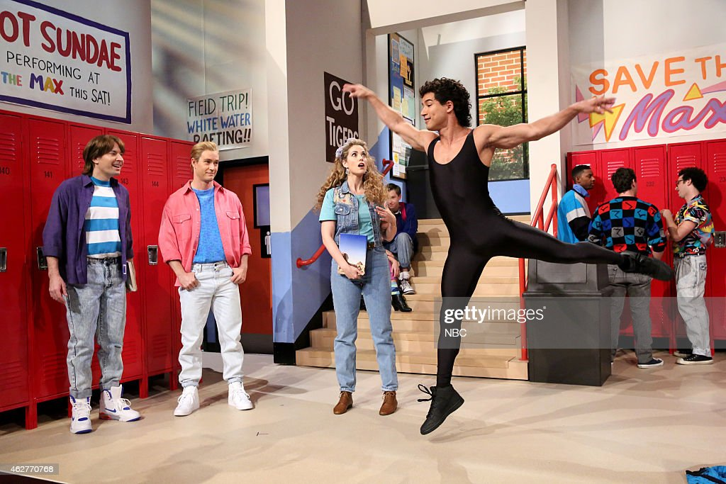 Jimmy Fallon MarkPaul Gosselaar Elizabeth Berkley and Mario Lopez during the 'Saved by the Bell' skit on February 4 2015