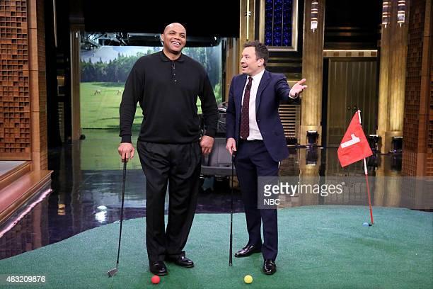 Professional basketball player Charles Barkley and host Jimmy Fallon play Hallway Golf on February 11 2015