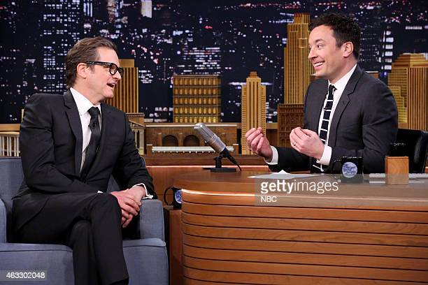 Actor Colin Firth during an interview with host Jimmy Fallon on February 12 2015