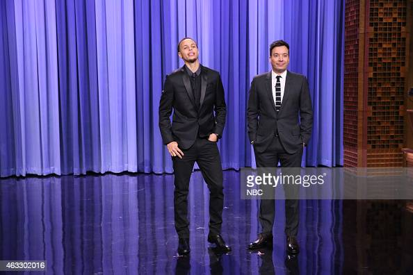 Professional basketball player Stephen Curry from the Golden State Warriors and host Jimmy Fallon during the Superlatives bit on February 12 2015