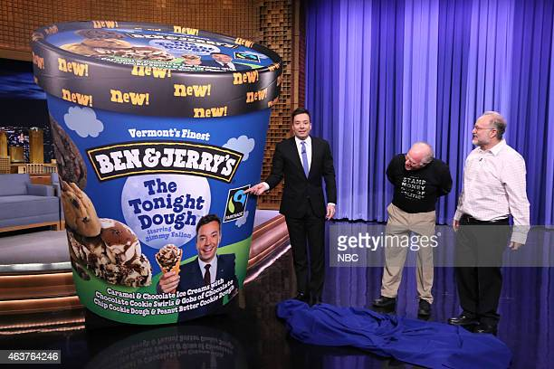 Host Jimmy Fallon and Ben and Jerry's founders Ben Cohen and Jerry Greenfield reveal a new ice cream flavor on February 17 2015