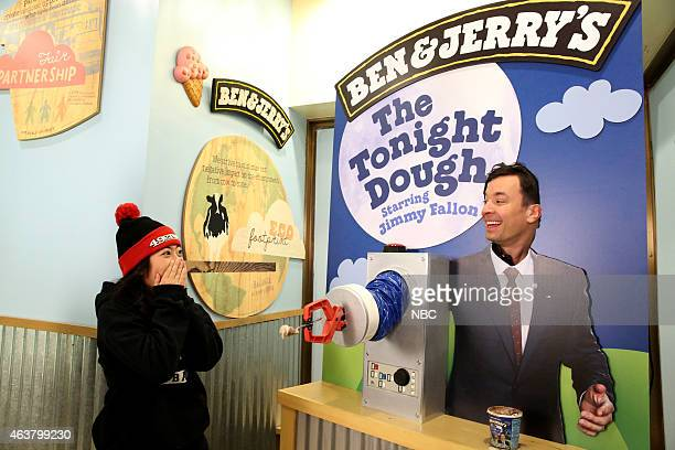 Host Jimmy Fallon surprises a guest at a Ben Jerry's scoop shop on February 18 2015