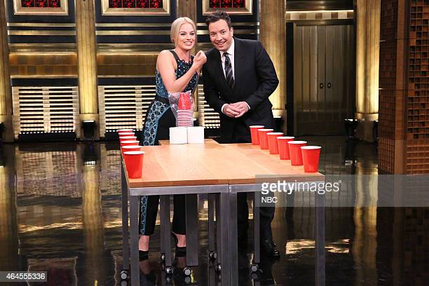 Actress Margot Robbie plays Beer Pong with host Jimmy Fallon on February 26 2015