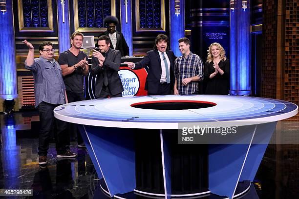 Actor Bobby Moynihan actor Chris Hemsworth actor Hugh Jackman DJ Ahmir 'Questlove' Thompson host Jimmy Fallon actor Colin Jost and actress Kate...
