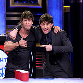 Actors Chris Hemsworth and Hugh Jackman play Musical Beers on March 5 2015