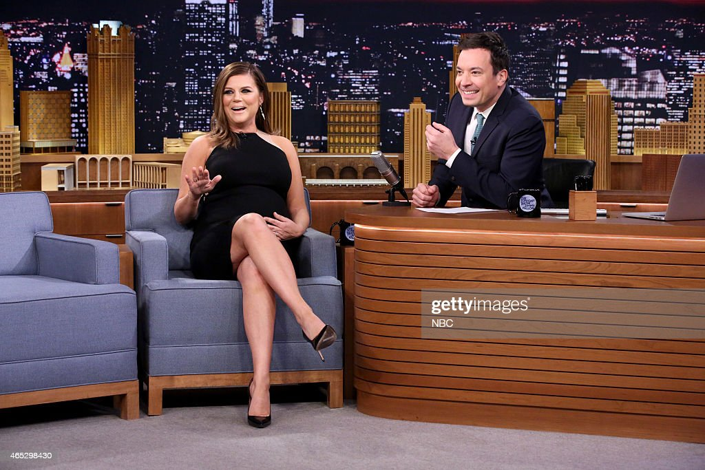 Actress Tiffani Thiessen during an interview with host Jimmy Fallon on March 5 2015